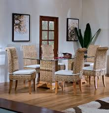 decorating charming seagrass dining chairs with sandy brown legs
