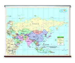 Asia Map With Capitals by Spring Roller Wall Maps One Map Place Inc