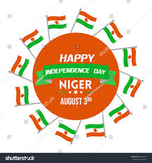 niger independence day celebration wishes greeting stock vector