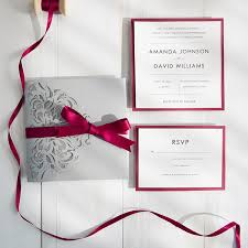 pocket wedding invitation burgundy and gray laser cut pocket wedding invitations