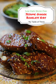 sesame ginger boneless ribs low carb gluten free my table of three