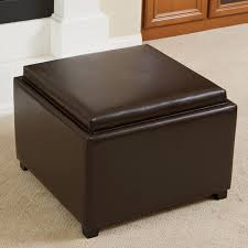 Leather Top Ottoman Wellington Bonded Leather Tray Top Ottoman By Christopher