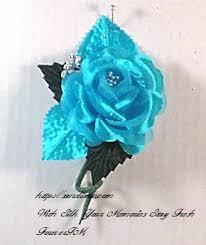 Turquoise Corsage Prom Silk Flower Wristlet Wedding Silk Flower Wristlet Silk