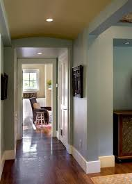 contemporary baseboard trim hall farmhouse with recessed lighting