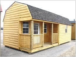 wooden storage buildings with porch with black steel storage shed