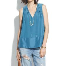 Combination Of Blue by Madewell Silk Shadowbox Tunic Tank In Blue Lyst