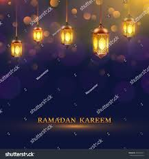 ramadan lights poster several glowing lamps stock vector 436545427