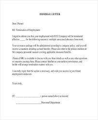 sample employee termination letter 8 examples in word pdf