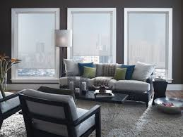 modern apartment with grey transparent roller shades roller