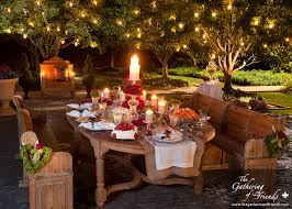 romantic dinner outside by the gathering of friends pretty
