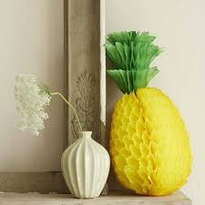 Paper Pineapple Decorations Tropical Hawaiian Themed Beach Party Ideas Tropical Decorations