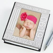 Photo Album Personalized Personalized Silver Baby Picture Album Baby Birth Information
