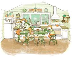home cafe drawing mom kids boy family life kitchen winter