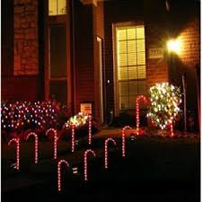 10 christmas candy cane lights pathway markers outdoor decoration