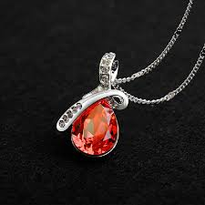 red necklace women images Rhinestone crystal water drop pendant necklace for women at banggood jpg