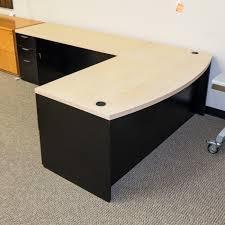Maple Office Desks Used Lacasse Left L Shape Office Desk Maple Black Del1542 002