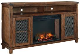 rustic mango veneer xl tv stand with electric fireplace insert
