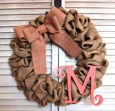 monogram wreath initial monogram burlap wreath 16 inch from michiganstateofmind