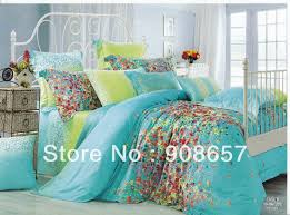Where To Buy Cheap Duvet Covers 500tc Flowe Print Green Turquoise Print Discount Cotton Bed Linen