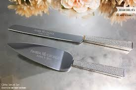 wedding cake knives and servers personalised personalized glitter wedding cake knife and server set 2