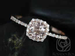 cushion halo engagement rings rosados box barra 5mm gold morganite cushion halo