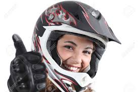 motocross gear for girls happy biker woman with a motocross helmet and thumb up isolated