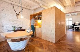 smart kitchen design with table and wooden box in innovative
