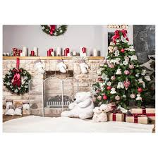 7x5ft christmas tree backdrop photography brick fireplace for