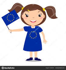 Holding The Flag Smiling Child Holding A European Union Flag Isolated On