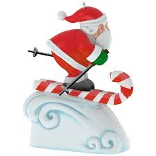 santa skiing countdown to clock ornament with light