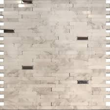 White Backsplash Kitchen Sample Stainless Steel Carrara White Marble Stone Mosaic Tile