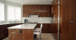 High Gloss Walnut Veneer Cabinetry Contemporary Kitchen Cabinets - European kitchen cabinet