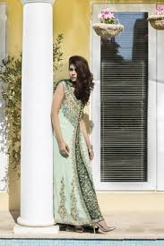 pista green and bottle green color bridal wear sbr520