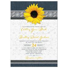 sunflower wedding invitations denim and lace sunflower wedding invitation