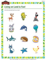 living on land is fun u2013 kindergarten science printable u2013 of
