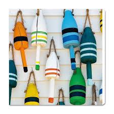filet de peche decoratif sur toile décoration marine 2 bouées de casiers à homards philip