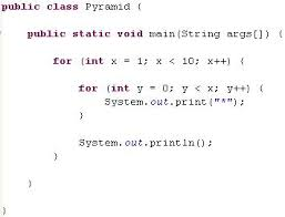 java pattern programs for class 10 java pyramids for loop exle
