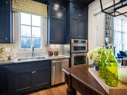 Painted Blue Kitchen Cabinets Wood Countertops Dark Blue Kitchen Cabinets Lighting Flooring Sink
