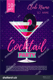cocktail party poster template night party stock vector 642665095