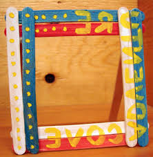 popsicle stick picture frame crafts for kids with acrylic paint