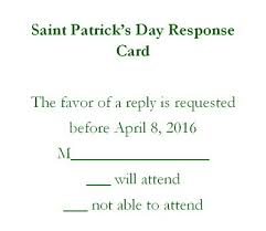 Response Card Wording St Patrick U0027s Day Free Suggested Wording By Holiday Geographics