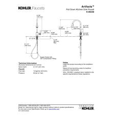 kohler k 99259 cp artifacts polished chrome pullout spray kitchen