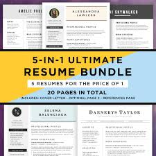 Best Resume Templates Etsy by Resume Template Bundle Cv Bundle 5 Resume Designs In 1 20