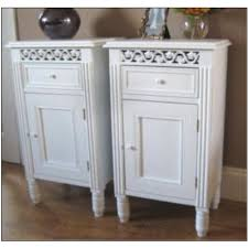 Shabby Chic White Bedroom Furniture Pair White Bedside Tables Cabinets L Table Vintage Shabby Chic