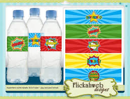 superhero water bottle label printables i like this style too