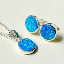 blue opal blue opal set jewelry set opal earrings opal necklace opal pendant
