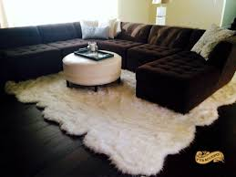 Area Rug White Fur Accents Thick Shaggy Sheepskin Area Rug White Faux Fur Large