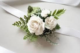 white wrist corsage wrist corsage prom corsage wedding forest wedding
