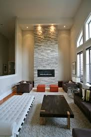 high ceiling fireplace with erthcoverings silver fox strips by