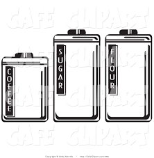 vector clip art of black and white three storage canisters in a